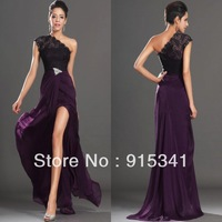 New Design A-line Asymmetrical Neck Grape Chiffon Lace with Beads Front Slit Prom Dress Women Gowns 2014
