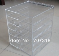 Retail 100% Clear Acrylic Makeup Jewelry 5 drawer with hinged Lid