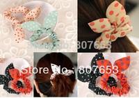 Free Shipping  10PCS Fashion Rabbit Ear Dot Hair Band Rope Sweet Lady Girl Ponytail Holder Hairband