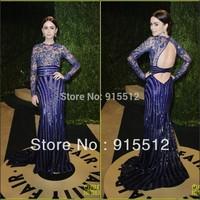 Lily Collins Fabulous Royal Blue Sheath Jewel Neck Long Sequined Zuhair Murad Evening Dresses