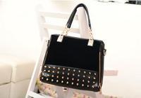 rivet patchwork shoulder handbags women bags designers handbags high quality messenger bag leather bags   30pcs/lot