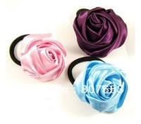 Free Shipping  5PCS Fashion Rose Elastic Rubber Hair Rope Tie Ponytail holders lady Hairband For Girls Womens