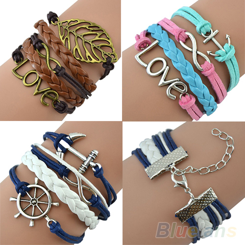 Mix Infinity Anchor Rudder leather love owl charm handmade bracelet friendship bangles jewelry valentina gift items(China (Mainland))
