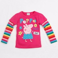 FREE SHIPPING New Fashion Nova kids wear baby girl peppa pig long sleeve embroidery tunic top t-shirt kids dresses for girls