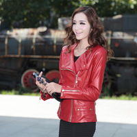2014 spring and autumn slim motorcycle women's small leather clothing