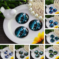 Free shipping 25mm*25mm Mysterious cat  Pattern Charm Round Glass Dome Cabochon Flat