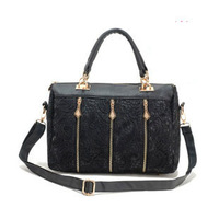 2014 High quality Black Lace carrying bag Women's handbag Retro lace PU Designer bags for lady Free shipping
