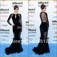 Emmy Rossum Fashion Black Mermaid Jewel Neck Long Sleeve Tulle Celebrity Zuhair Murad Dresses for Sale