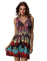 Fashion Vintage Retro Leopard Paisley Print Boho Hippie Sun Dress Clubwear Free Shipping @X4147X1