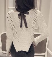 2014 new fahion autumn winter women bottoming pullovers irregular sweater  hem long-sleeved hollow sweater