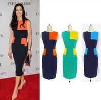 2013 new women sexy party dress xl xxl patchwork one-piece dress