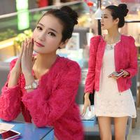 2014 Fashion New Women Coats Blazers rose flower floral chiffon short lady outwear lace woman jacket top Pink,beige,black M,L,XL