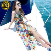 Print one-piece dress irregular sweep fish tail  medium-long bag beach dress