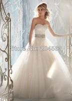 Free Shipping Elegant A Line Sweetheart Beaded Sash Wedding Dress