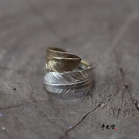 Free shipping masters classic pure hand - made goros Feather Ring in Sterling Silver beautifully complex moment