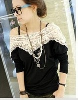 New arrival women's lace collar long t-shirt autumn and winter