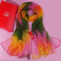 Drop Shipping  Silk scarf female autumn and winter tie-dyeing ultra long paragraph cape silk scarf mulberry silk