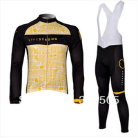 2012 New live bank bike Team cycling Jersey BIB long sleeve Winter Thermal Fleece wearproof bicycle clothing set for man