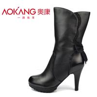 Aokang 2013 medium-leg winter brand genuine leather women boots fashion rhinestone flower boots  thick high heels boots