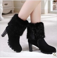 2013 brand genuine leather round toe snow boots side zipper boots thick high heels women boots
