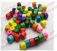 500pcs/lot Fashion Mix Color 7*6MM Cylinder DIY Wood Loose Beads Fit Jewelry Accessory nb124
