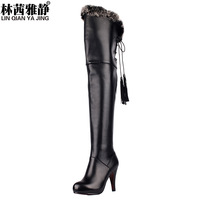 2013 over-the-knee rabbit fur fashion high heels women pumps genuine leather boots platform boots martin boots