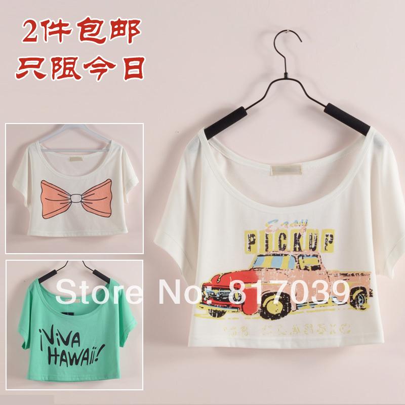 Free shipping Loose fashion bikini short design pullover summer batwing sleeve beach shirt female short-sleeve T-shirt(China (Mainland))