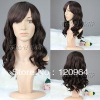 Wholesale made Natural Kanekalon fibre Wigs 55cm long dark brown curly wigs for black women wine wig