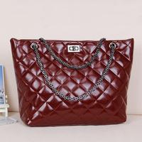 Women's Fashion Handbag Real famous brand plaid chain one shoulder Genuine leather handbag free shipping