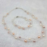 wholesale 10set 5-6mm 3row multicolor and white real freshwater pearl necklace & bracelet  7-17inch