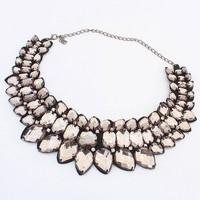 Free Shipping! New Design Lady Bib Statement Necklace, Women Coffee Crystal Acrylic Fashion Necklace Collar Dress Jewelry#102537