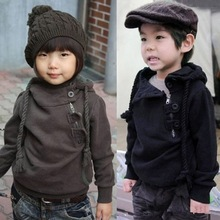 Free shipping 2014 new European oblique zipper fleece shirt with Hood costume boys