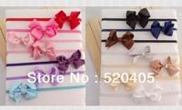 Fashion Ribbon bows hair band for kids Solid Satin hair bowknot 2.5Inch girl hair band DIY flower korean hair bow handband 24PCS