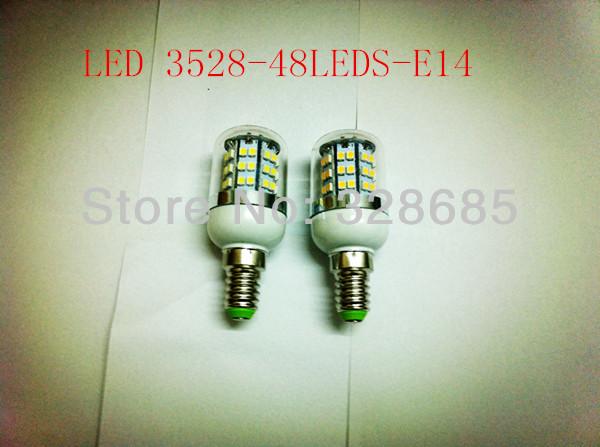 5pcs LED Bulbs Tubes 3528 48LEDS 5W E14 Corn lamp white/warm whit