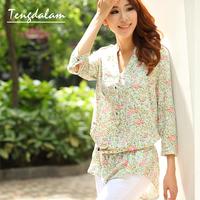 Autumn rustic plus size clothing loose floral print shirt medium-long three quarter sleeve shirt