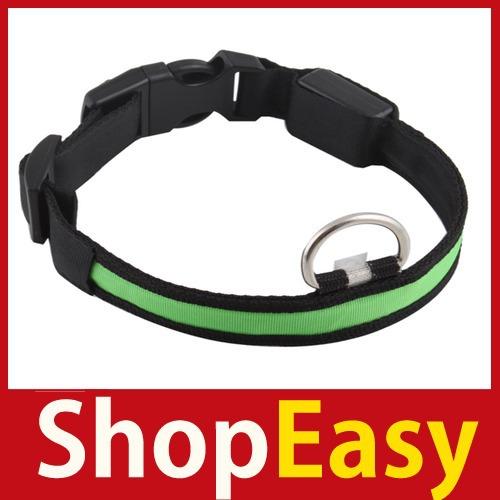 [ShopEasy] Nylon LED Dog Night Safety Pet Collar Flashing Light Up Pendant Collar Rope Save up to 50%(China (Mainland))