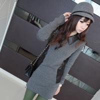 2013 autumn and winter slim plus velvet thickening medium-long basic shirt slim hip t-shirt female long-sleeve