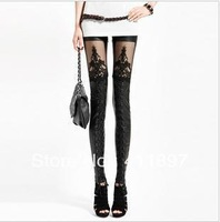 HOT Faux PU Leather Retro Fashion Sexy Gothic Punk Style Lace Black Leggings Tights Pants NEW Free Shipping Holiday Sale