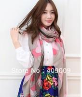 free shipping + fashion cotton voile bohemian peach heart print women fashion wraps