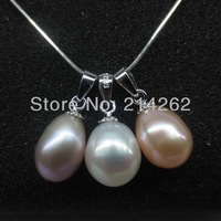 natural 7.5-8mm drop 3pcs mixed  freshwater pearl  pendant necklace 925 silver 16""