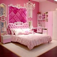 European Style MDF Pink Princess Girl 4pcs Bedroom Furniture Princess Bed