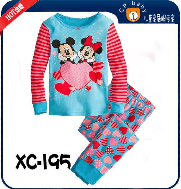 children girls long sleeve mickey minnie mouse sleepwear clothing set #XC-195 / baby pajamas / kids 2 pcs set / free shipping(China (Mainland))