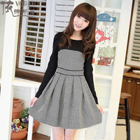 now 2013 winter girl dress  women's one-piece dress female long-sleeve houndstooth slim autumn and winter clothing set