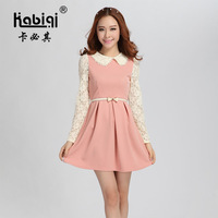 now 2013 winter girl dress plus size slim long-sleeve knitted basic woolen autumn female winter clothing set dress