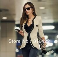 2013 Spring and Autumn Elegant Popper Deep V-neck Suit Jacket Women's Double Pocket Shoulder Pads Blazer Suit Coat Free shipping
