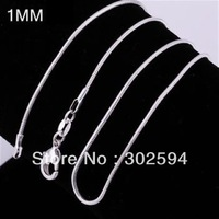 wholesale Mix size (16 18 20 22 24inch) Beautiful fashion 925 silver charm 1MM snake chain Necklace TOP quality  jewelry 50pcs
