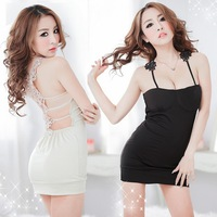 2014 New style Cultivate one's morality backless packet buttock Sexy Dress Woman temptation chest sponge pad Black and White