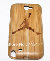1 Piece Hand-carved Wood Case for Samsung Note 2 / N7100 With Unique Michael Jordan Design + 1 Piece Free Protective Film