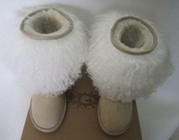 Double 11 tan wool and fur in one knee-high genuine leather boots snow boots warm boots