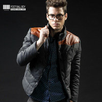 autumn and winter new style men's clothing outerwear thick wadded jacket  casual cotton patchwork leather trend of